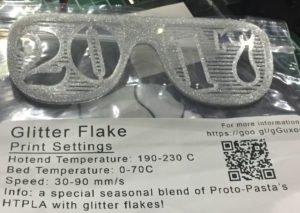 3D Printed Glasses for New Year's Eve 2017 Printed with GlitterFlake from Proto-Pasta